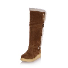 Women's Leatherette Low Heel Closed Toe Mid-Calf Boots shoes