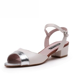 Women's Real Leather Chunky Heel Peep Toe Sandals With Split Joint