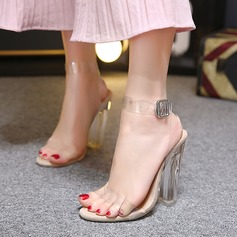 Women's PVC Chunky Heel Sandals Peep Toe Slingbacks With Buckle shoes