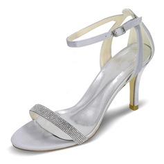 Dla kobiet Satyna Szpilki Peep Toe Pompy Sandały Pantofle Z Klamra Rhinestone