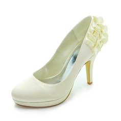 Women's Satin Cone Heel Closed Toe Platform Pumps With Satin Flower