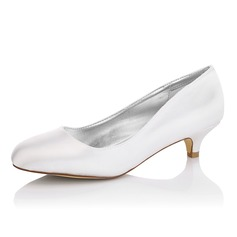 Women's Satin Kitten Heel Closed Toe Pumps Dyeable Shoes