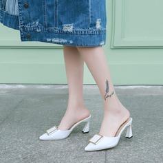 Femmes PU Talon stiletto Escarpins Bout fermé Escarpins Chaussons avec Boucle chaussures