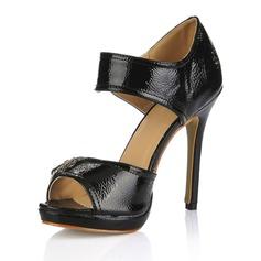 Patentert Lær Stiletto Hæl Sandaler Titte Tå med Spenne sko
