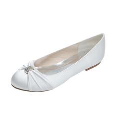 Women's Satin Flat Heel Closed Toe Flats With Bowknot Rhinestone
