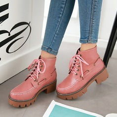 Women's PU Chunky Heel Boots Mid-Calf Boots Martin Boots With Rivet Lace-up shoes