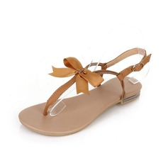 Leatherette Flat Heel Sandals Flip-Flops With Bowknot shoes