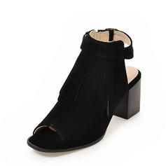 Femmes Suède Talon bottier Sandales Escarpins À bout ouvert avec Boucle Tassel chaussures