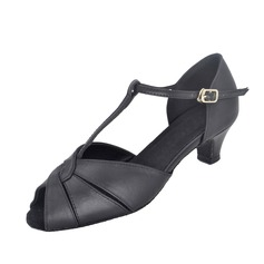 Women's Real Leather Heels Sandals Latin With T-Strap Dance Shoes