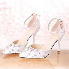 Women's Leatherette Stiletto Heel Closed Toe Pumps With Buckle Rhinestone Crystal