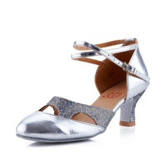 Women's Leatherette Heels Modern Ballroom With Ankle Strap Dance Shoes