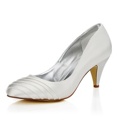 Women's Satin Cone Heel Closed Toe Pumps Dyeable Shoes