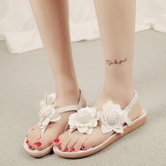 Women's Leatherette Flat Heel Sandals Peep Toe Slingbacks With Flower Elastic Band shoes