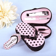 Aço inoxidável Kit Manicure com Rosa Polka Dot Caso Flip Flop