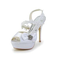 Mulher Cetim Salto agulha Peep toe Plataforma Plataforma Sapatos abertos com Laço