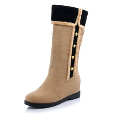 Women's Suede Wedge Heel Boots Mid-Calf Boots With Rivet shoes
