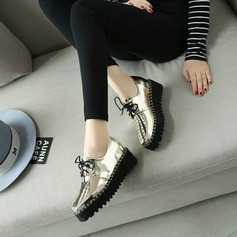 Women's Patent Leather Wedge Heel Wedges With Lace-up Hollow-out shoes