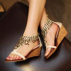 Women's Leatherette Wedge Heel Wedges With Zipper Tassel shoes