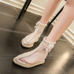 Women's Mesh Flat Heel Boots With Imitation Pearl Zipper shoes