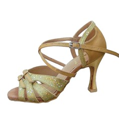 Women's Satin Sparkling Glitter Heels Sandals Latin With Ankle Strap Dance Shoes