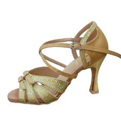 Kvinnor Satäng Glittrande Glitter Klackar Sandaler Latin med Sotled Rem Dansskor