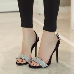 Women's Suede Stiletto Heel Sandals Pumps Peep Toe Slingbacks With Rhinestone Buckle shoes
