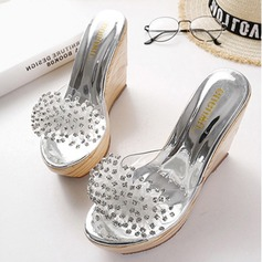 Women's Wedge Heel Sandals Platform Wedges Peep Toe Slippers With Rhinestone shoes