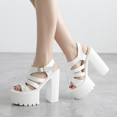 Women's Leatherette Chunky Heel Sandals Peep Toe With Hollow-out Braided Strap shoes