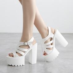 Femmes Similicuir Talon bottier Sandales À bout ouvert avec Ouvertes Lanière tressé chaussures