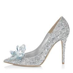 Women's Leatherette Stiletto Heel Closed Toe Pumps With Rhinestone Crystal