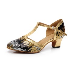 Women's Sparkling Glitter Heels Modern With Ankle Strap Buckle Sequin Dance Shoes