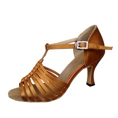 Women's Satin Heels Latin With Hollow-out Dance Shoes