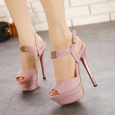 Women's Leatherette Stiletto Heel Sandals With Sparkling Glitter Buckle Tassel shoes