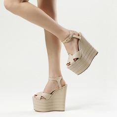Dla kobiet Prawdziwa Skóra Obcas Koturnowy Sandały Platforma Koturny Z Klamra obuwie