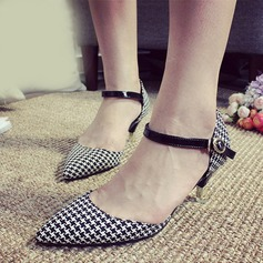 Women's Real Leather Kitten Heel Pumps Closed Toe Mary Jane shoes