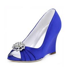 Women's Satin Wedge Heel Peep Toe Sandals With Rhinestone