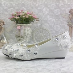 Women's Patent Leather Wedge Heel Closed Toe Pumps Wedges With Rhinestone Stitching Lace