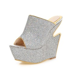 Women's Sparkling Glitter Wedge Heel Sandals Slippers shoes