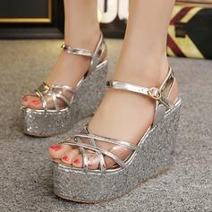 Women's Leatherette Wedge Heel Sandals Platform Wedges Peep Toe shoes