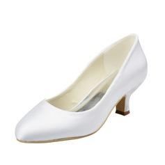 Women's Satin Low Heel Closed Toe Pumps