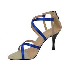 Women's Satin Heels Sandals Latin Ballroom Wedding Party Dance Shoes