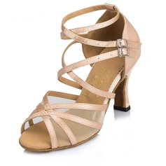 Women's Leatherette Heels Sandals Latin With Ankle Strap Buckle Dance Shoes