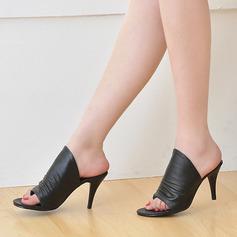 Frauen Kunstleder Stöckel Absatz Sandalen Absatzschuhe Pantoffel Schuhe