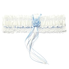 Delicate Satin Lace With Ribbons Flower Wedding Garters