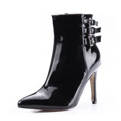 Patent Leather Stiletto Heel Ankle Boots With Buckle shoes