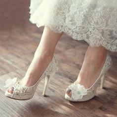 Femmes Dentelle Talon stiletto À bout ouvert Plateforme Beach Wedding Shoes