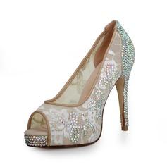 Fabric Stiletto Heel Pumps Platform Peep Toe With Rhinestone shoes