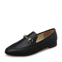 Frauen Kunstleder Flascher Absatz Flache Schuhe Geschlossene Zehe mit Kette Schuhe