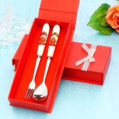 La mariée et le marié Acier inoxydable Ensemble de cuillière et fourchette