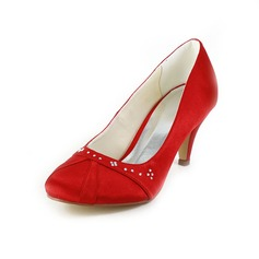 Women's Satin Cone Heel Closed Toe Pumps With Rhinestone Ruched